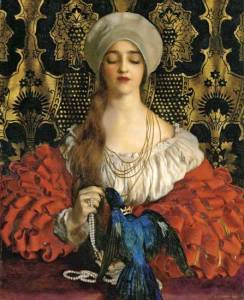 The Blue Bird, 1918, by Frank Cadogan Cowper (1877-1958). PD-US.