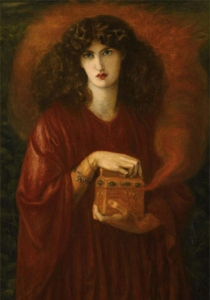 Pandora's Box (1871), by Dante Gabriel Rossetti. As with many feminine characters in history and mythology, Pandora's story got revised in a grinchy, anti-Feminine way. See the link at the end of this post for a Sophia's Children post about the real story of Pandora and the famed box.