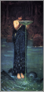 The beautiful 'water bearer' is Circe by John William Waterhouse (1892). PD-US.