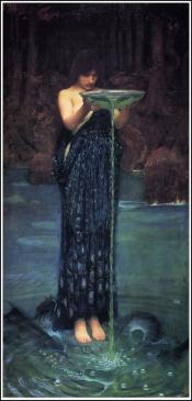 The beautiful 'water bearer' is Circe by John William Waterhouse (1892).