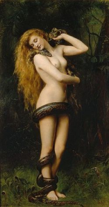 Lilith, by John Collier (1892). The snake, which sheds its skin, has long been a symbol of regeneration and rebirth, and thus a core symbol of the Feminine Mysteries.