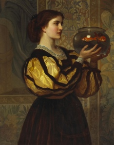 """The Goldfish Bowl"" (c. 1870) by Charles Edward Perugini (1839-1918)"