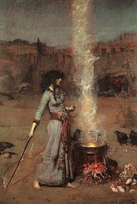 The Magic Circle (1886), by John William Waterhouse, currently housed in The Tate, London. Image gratis WikiCommons.