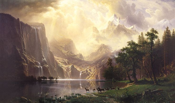 Among the Sierra Nevada Mountains, 1868, by Albert Bierstadt (1830 – 1902)