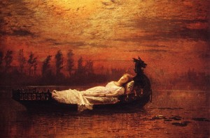 The Lady of Shalott,1878,  by John Atkinson Grimshaw (9/6/1836 –  10/13/1893)
