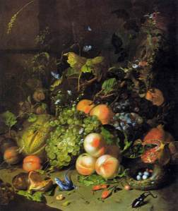 Still life with fruit, a cornucopia, by Dutch Master Painter Rachel Ruysch (1664 – 1750)