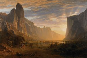 Looking Down Yosemite Valley, by Hudson River School artist, Albert Bierstadt (1865). Image via WikiCommons.