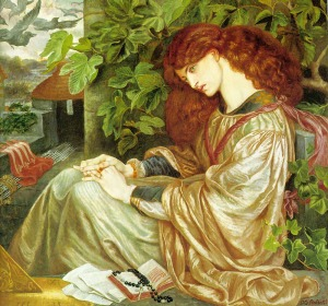 Pia de Tolomei (1868-1880), by Dante Gabriel Rossetti. Public domain image courtesy of Wikimedia.