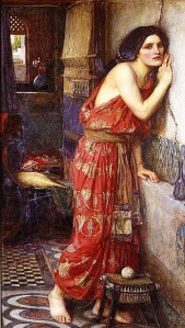 Thisbe LIstening at the Wall (John William Waterhouse). Public domain via WikiMedia.