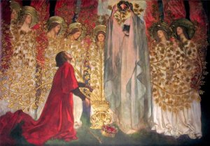 Sir Galahad Discovers the Grail, c. 1890, by Edwin Austin Abbey (1852-1911). Image courtesy of Wikimedia Commons.