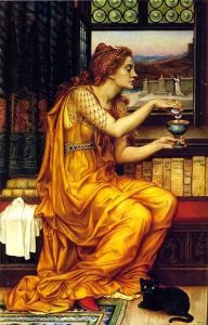 The Love Potion, 1903, by Evelyn Pickering De Morgan. Public domain image courtesy of Wikimedia.