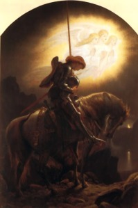 Sir Galahad, readying for the Grail Quest. Painting by Joseph Noel Paton (1821-1901)