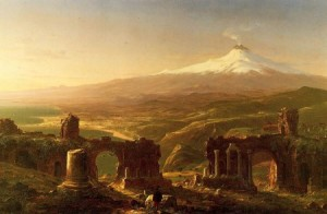 Mount Etna from Taormina, Sicily; 1843, by Thomas Cole of the Hudson River School.