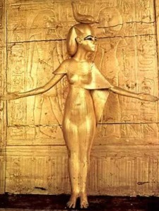 "Selqet protecting Tutankamen's Shrine, Egypt. ""Egyptian goddess Serket. She is often depicted as a woman with a scorpion gracing her crown. She holds the ankh, the symbol of life, in one hand and a staff, representing power, in the other."" (WIkipedia)"