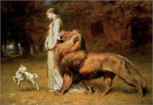 Una and the Lion, 1880, by Briton Riviere. Public domain image courtesy of Wikimedia.