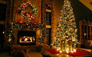 Christmas Hearth-Fire and Tree, Little Christmas Shop (WordPress).