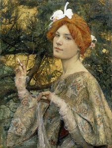 Woman with Orchid, 1900, by Edgar Maxence. At the Musée d'Orsay. Image from Wikipedia.