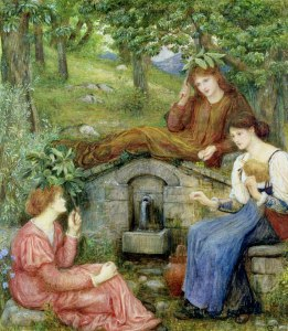 A Clear Well With a Little Field, 1883, Marie Spartali Stillman.