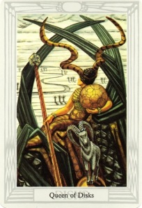 The Queen of Disks, painted by Lady Frieda Harris for the Thoth-Crowley Tarot. For more on this archetyle, see the link at the end of this blog post.