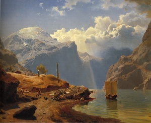 Fra Hardanger, 1847, by Hans Gude. Public domain image courtesy of Wikimedia.