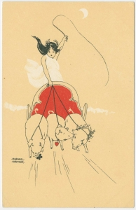 Vintage Happy New Year's Post Card - notice the ancestral folk themes still in evidence, with Freyja's cart drawn by three totem animals, sacred to the goddess. Designed by Raphael Kirchner.