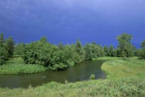 Small River in the Prairie Brush with Storm Clouds Ahead. Image courtesy of Public Domain Images.