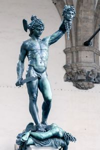 Perseus with Medusa's Head, bronze sculpture by Benvenuto Cellini (1500-1571), Florence. GNU-free/Creative Commons mage courtesy of Morio via WikiMedia.