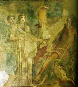 Cronos and Rhea Assisted by Iris, c. 65, from Pompei, Casa del Poeta tragico. Napoli, Museo Archeologico Nazionale (Luciano Pedicini, Napoli). Public domain image courtesy of WikiMedia.
