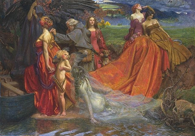 Now is the Pilgrim Year Fair Autumn's Charge, by John Byam Liston Shaw (1872-1919). Public domain image courtesy Wikimedia.