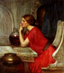 Circe the Priestess (detail), 1911-1915, from a trinity of images created by John William Waterhouse. Public domain image courtesy of Wikimedia.