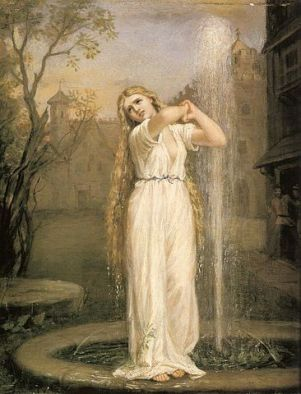 The Undine, 1872, by John William Waterhouse, Pre-Raphaelite. Public domain image courtesy of Wikimedia.