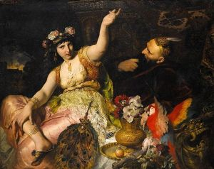 Scheherazade and Sultan-Scharia, 1880, by Ferdinand Keller. Public domain image courtesy WikiMedia.