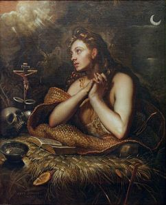 The Penitent Mary Magdalene, c. 1598 by Domenico Tintoretto. Public domain image courtesy of Wikimedia.