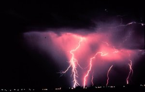 Time-lapse photography of a lightning storm in Norman, Oklahoma. Public domain image courtesy of NOAA.gov.