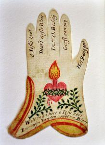 """""""Main pieuse"""", papier et aquarelle, XVIIIème siècle. Musée du Coeur, by Vassil, 2011. Image courtesy of Vassil via Creative Commons, WikiMedia."""
