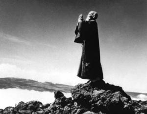 Morihei Ueshiba meditates on top of Haleakala, Maui, 1961. Shared in Spirituality & Health magazine and sourced from the photo archives of Maui-Ki Aikido.