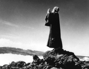 Morihei Ueshiba meditates on top of Haleakala, Maui, 1961. Shared in Spirituality & Health magazine and sourced from the photo archives of Maui-Ki Aikido.