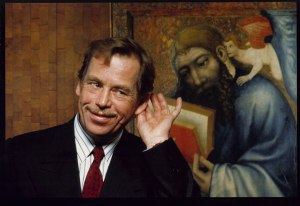 """Václav Havel at Prague's National Gallery in 1992. Photo by Pavel Štecha, as featured in """"Havel: An Authentic Life,"""" VoxEurop.eu (link below)."""