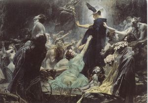 Souls on the Banks of the Acheron, 1898, by Adolf Hiremy-Hirschl (1860-1933)