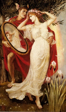 Hermes and Venus gazing into a Mirror, 1885, by Walter Crane. Public domain image.