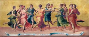 Dance of Apollo and the Muses, by Baldassare Peruzzi (1481-1537). Public domain image courtesy of Wikimedia.