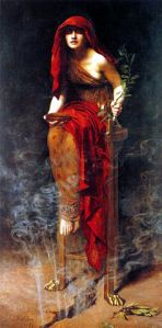 Priestess of Delphi, by John Collier. Public domain image courtesy of Wikimedia.