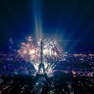 Fireworks at the Eiffel Tower in Paris, France. July 14, 2013, by Jann Caradec. Shared via Creative Commons, Wikimedia. Thank you, Jann!