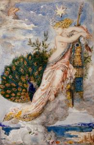 The Peacock Complaining to Hera/Juno, 1881, by Gustave Moreau. Public domain image courtesy Wiki.