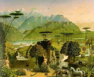 Garden of Eden, by Erastus Salisbury Field (1805 – 1900), American Folk Artist.