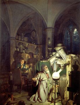The Alchemist in Search of the Philosopher's Stone, 1771, by Joseph Wright. Public domain image courtesy of Wikimedia.