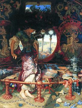 The Lady of Shalott, 1905, William Holman Hunt with Edward Robert Hughes. Public domain image courtesy of Wikimedia.