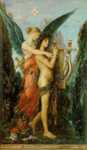 Hesiod and the Muse, 1891, by Gustave Moreau. Public domain image courtesy of WikiMedia and the Musée d'Orsay, Paris.