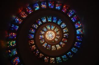 Spiral Path in Stained Glass. Public domain image courtesy of Pixabay.