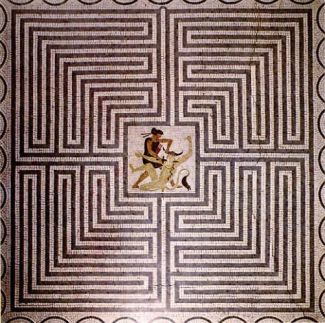 Mosaic of the Minos Labyrinth in Villa Kerylos in Beaulieu-sur-Mer, France. Wikimedia.